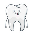 cartoon white tooth dentistry and healthcare vector image vector image