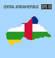central african republic map border with flag vector image