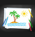child drawing palm trees vector image vector image