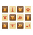 clothing icons over brown background vector image