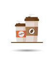 coffee cup with coffee beans on white background vector image vector image