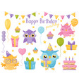 cute colorful owlets design elements for birthday vector image