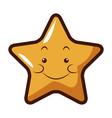 cute kawaii star face emoticon character vector image vector image