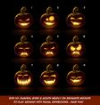 Dark Jack O Lantern Cartoon 9 Vampire Expressions vector image vector image