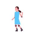 girl roller skating over white background vector image vector image
