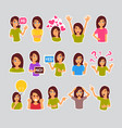 girl set of stickers for messenger label icon vector image