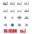 grey music soundwave icon set vector image vector image