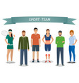 group of people in sportswear standing under vector image vector image