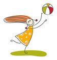 Happy little girl playing ball vector image vector image