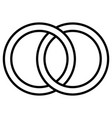 interlocking circles icon sign outline rings vector image vector image