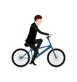 isolated groom on a bicycle vector image