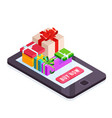isometric pile gifts on smartphone screen vector image vector image