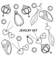 jewelry set of hand drawing vector image