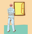 mentally ill man wearing strait jacket vector image vector image