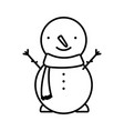 merry christmas celebration snowman with scarf vector image vector image