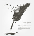 old feather with flying birds and ink stains vector image vector image