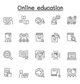 online education icons set in thin line style vector image