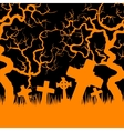 Orange cemetery and trees vector image