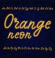 orange neon script uppercase and lowercase vector image vector image