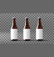 realistic clear beer bottles with white label vector image vector image