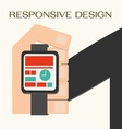 Responsive Web Design hand with a wrist watch vector image vector image