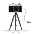 retro photo camera on tripod isolated on white vector image vector image