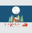 santa claus santa girl and snowman push a vector image vector image