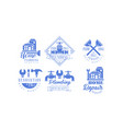 set of blue logo templates for plumbing and vector image vector image