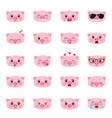 set pigs emojis vector image vector image