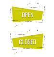 set ribbon banner with text open and closed for vector image vector image