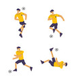 set soccer players in flat design style vector image