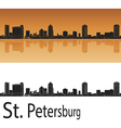 St Petersburg skyline in orange background