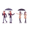 stylish man and woman in autumn clothes with vector image