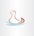 stylized duck in watter design vector image