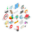 teaching icons set isometric style vector image vector image