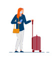 traveler woman tourist woman in mask holding bag vector image vector image