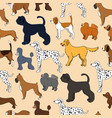 Unusual seamless pattern with cute cartoon dogs