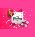valentines day 3d pink layout decoration card vector image