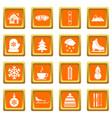winter icons set orange vector image vector image