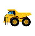 work yellow truck big wheels construction vehicle vector image