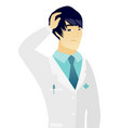young asian puzzled doctor scratching his head vector image vector image