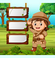 young girl adventurer with blank wood background vector image vector image