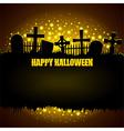 Glowing graveyard Halloween background vector image