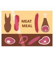 flat design restaurant meat butcher shop facade vector image