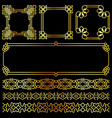 golden asian retro frames and borders set vector image