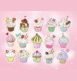 set of doodle sketch cupcakes with decorations on vector image