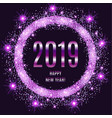2019 happy new year glowing violet background vector image vector image