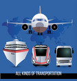 all kinds of travel transport plane bus train vector image vector image