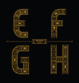 alphabet art deco style in a set efgh vector image vector image