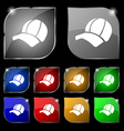Ball cap icon sign Set of ten colorful buttons vector image vector image